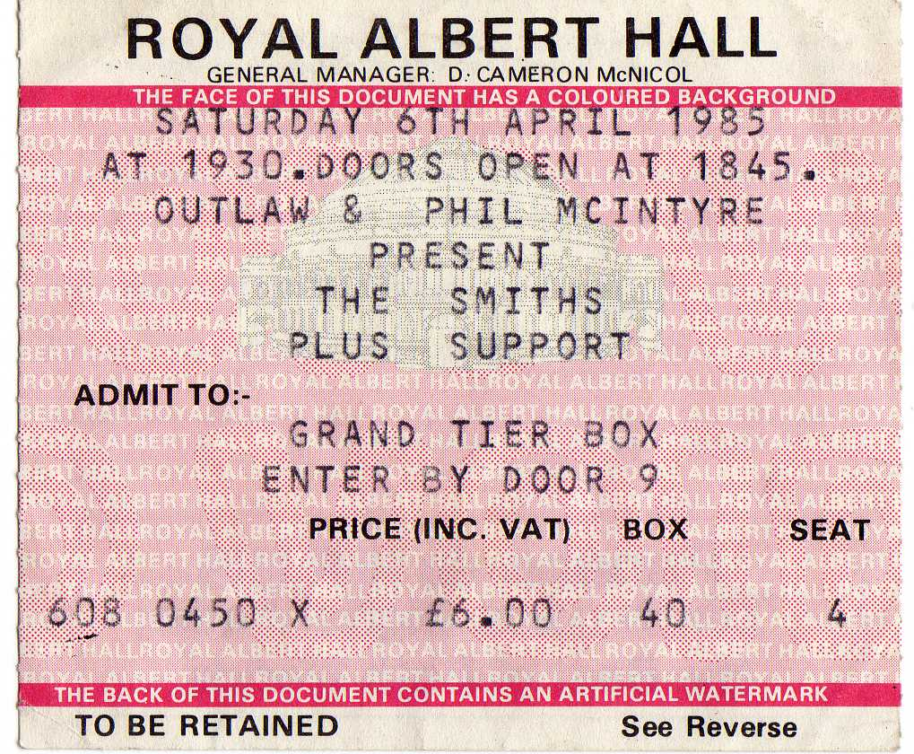 The smiths james 6 avril 1985 londres royal albert for Door 12 royal albert hall