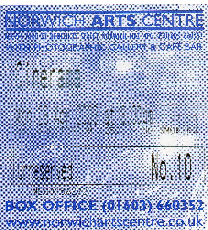 Wedding Present Setlist : Cinerama, 28 avril 2003, Norwich Arts Centre