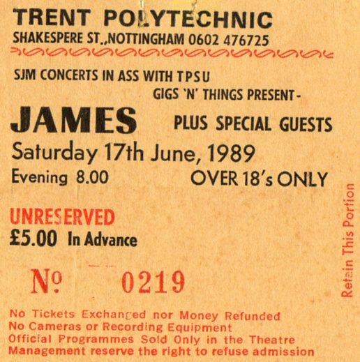 James New FADS 17 Juin 1989 Nottingham Trent Polytechnic