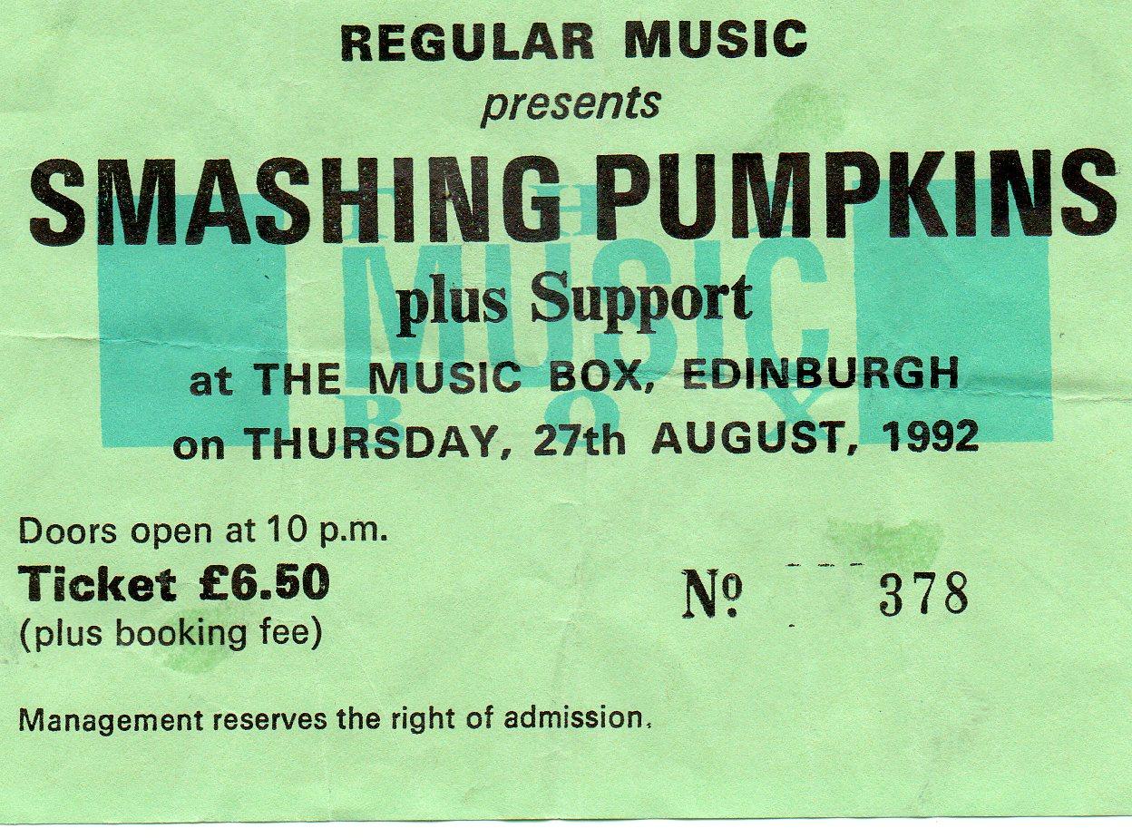 The Smashing Pumpkins  27 ao  251 t 1992  Edinburgh  The Music BoxSmashing Pumpkins 1992